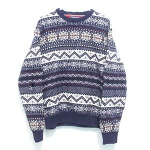 Tommy Hilfiger Christmas Sweater XL Navy w/ FLAW